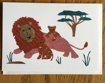 Lion Card, Lion Cubs, Lion Wall Art, African card, Animal Card, cut paper art, nursery, kids, african art, children card