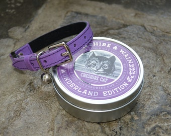 Purple Leather Cat Collar with Breakaway Buckle