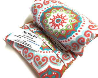 FLAX HEATING PAD - Heat Pack - Microwave -  Mandala  - Removable/Washable Cover - Large - Flax pillow - Neck - Back - Hips - Tummy