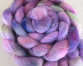 Hyacinth 4.0 oz Handpainted Polwarth top for spinning OOAK