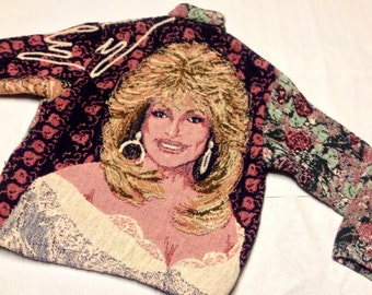 Dolly Parton Coat Sweater Tapestry Women's Size M Simply Country