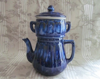 French Cobalt Blue Teapot/Coffee Pot with Filter