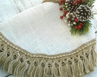 "Ivory Burlap Tree Skirt - Christmas Tree Skirt - Tree Skirt - Christmas Decor - 38"" - 42"" - Choose your size"