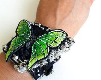 Luna Moth Bracelet- Hand Painted Moth- Fabric, Jeans Bracelet