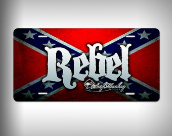Rebel Custom Graphics Custom License Plate with Custom Text or Graphics Aluminum Front Plate Personalized Great Gift Novelty