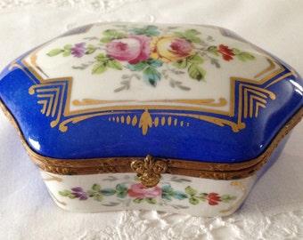 Beautiful Vintage Porcelain Blue Dresser Box/ Casket French Hand Painted Trinket Box
