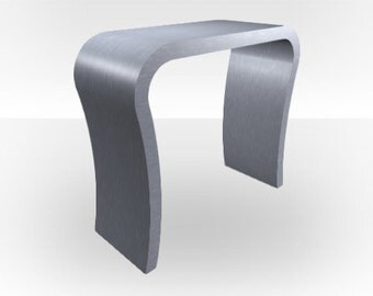 Brushed Steel Matt Console Table - Curved