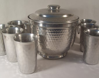 Vintage Drinkware Hammered Aluminum Eight Tumblers and Ice Bucket     S717