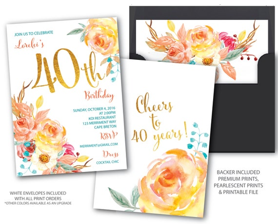 Fall 40 birthday invitation 40th birthday invitation boho il570xn stopboris Images