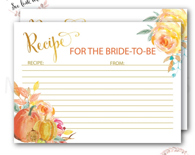 Fall Recipe Card for the Bride to Be // Pumpkin Recipe Card // Bridal Shower // Watercolor  // Gold Foil // Printed //CAPE BRETON COLLECTION