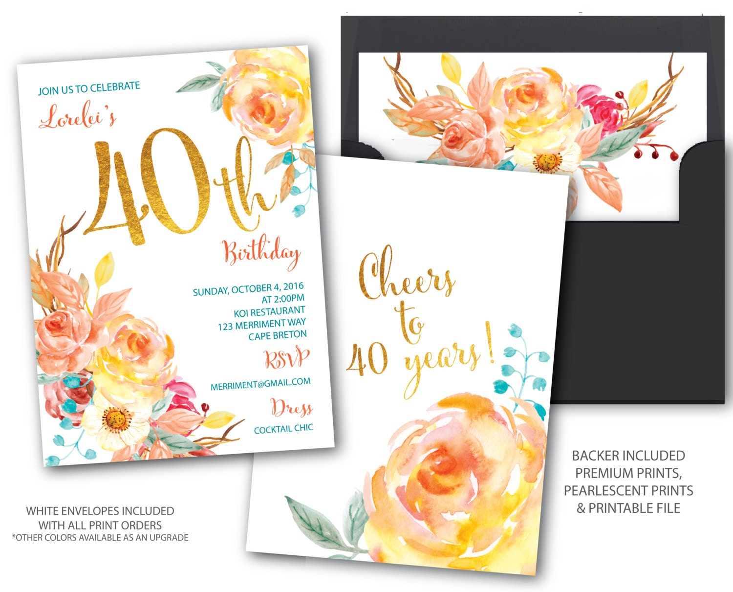 Fall 40 birthday invitation 40th birthday invitation boho fall 40 birthday invitation 40th birthday invitation boho chick cheers to 40 years gold watercolor cape breton collection stopboris Images