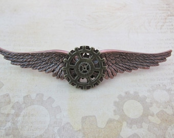 "Steampunk ""Mechanic"" Brass and and Copper Wings Pin"