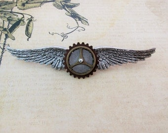 "Steampunk ""Co-Pilot"" Brass and and Copper Wings Pin"
