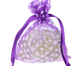 Polka Dots Organza Gift Pouch, 4-Inch x 5-Inch, 12-Piece- CLOSEOUT