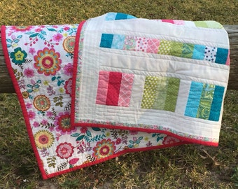 Bright Pink multi color baby girl quilt