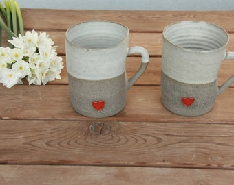 2 pottery large matte pottery hot drinks mugs with red heart  - pottery wedding gift idea