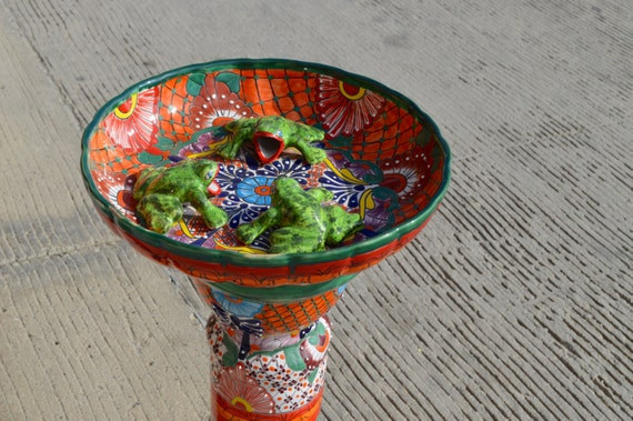 Talavera Mexican Pottery Bird Bath