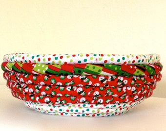 Christmas Fabric Coiled Basket