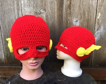 Flash. Crochet hat. Super Hero.