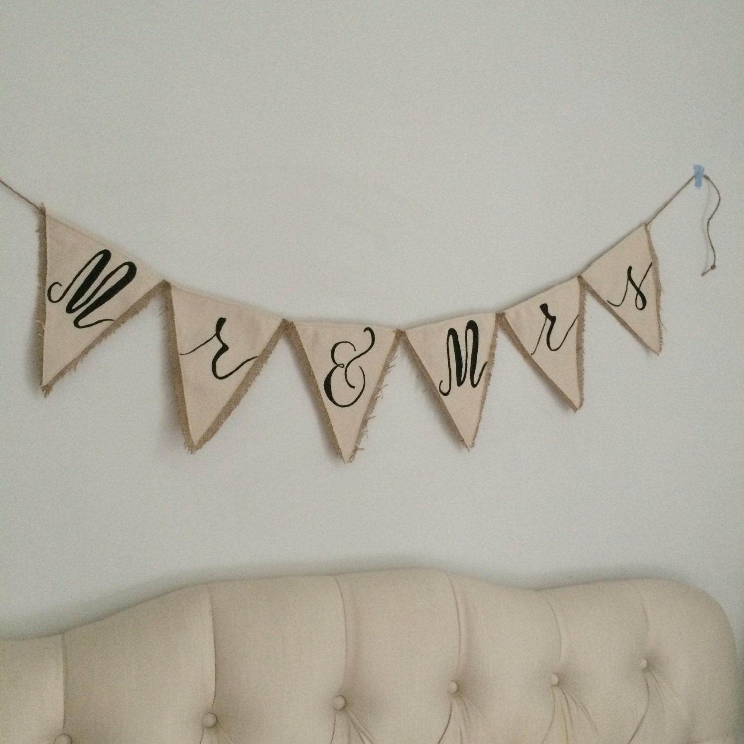 Mr mrs sign and burlap banner calligraphy wedding