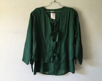 Vintage Blouse -  Loose Layered Top Sheer Green
