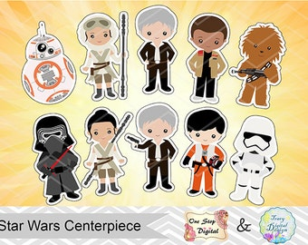 10 Printable Star Wars Centerpiece, Instant Download Star Wars Cake Topper, Star Wars Table Centerpiece, Star Wars Birthday Party DIY, 0025