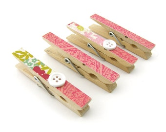 Decorative Clothespin Magnets, Set of 4, Magnetic Clips, Refrigerator, Magnet Clips, Floral Print, Pink, Mauve, Strong Magnets