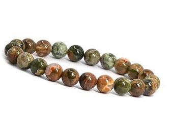 8 mm Rainforest Jasper Bracelet, Rhyolite Bracelet, Jasper Beads Bracelet, Jasper Jewelry, Jasper Mens Beaded Bracelet,Jasper Women Bracelet