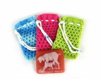 crochet soap saver bag, wash cloth bag, soap bag, wash cloth, flip phone bag, party favor, girlfriend gift