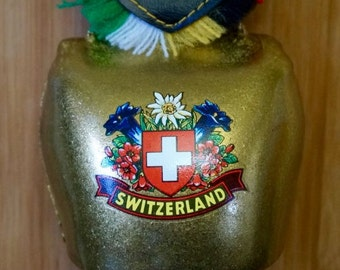 Swiss Metal Cow Bell; Decorative Strap; Approx. 8 in. Bell 3 x 3.5 in. Souvenir !!!