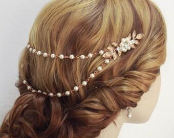 Rose gold Wedding hair chain Bridal Hair Chain Bridal comb Wedding headpiece Pearl rhinestone chain Wedding jewelry Bridal hair piece