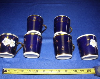 Set of 6 Cobalt Blue Coffee Mugs made in USSR (Russia)