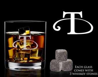 Personalized Whiskey Glass and Rocks – Great Whiskey Gift for Groom with Laser Engraved Whiskey Glass and 3 Whiskey Stones