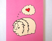Cute Valentines Day Card - animal drawing - guinea pig - greeting card