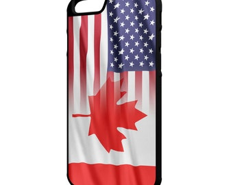 Canada American Flag iPhone Galaxy Note LG HTC Hybrid Rubber Protective Case