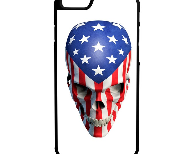 American Flag Skull iPhone Galaxy Note LG HTC Hybrid Rubber Protective Case White Background