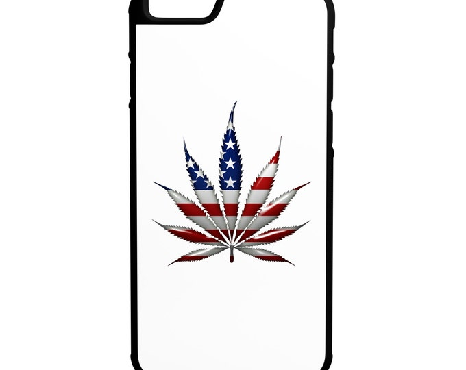 USA Weed Leaf iPhone Galaxy Note LG HTC Hybrid Rubber Protective Case