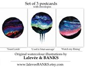 Set of 3 Postcards Watercolour Prints surreal galaxy space round art watercolour