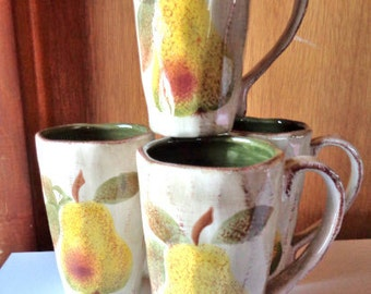 Tabletops Unlimited Botanica Hand-Painted Multi-Color Latte' Mugs Adorned With Pears
