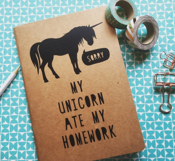 Simple Book Cover Quote ~ Kraft notebook travel journal school exercise unicorn quote