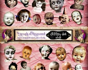 DIY Project Craft Supplies - Halloween Printable Creepy Doll Heads Scrapbook Kit - Halloween Art - Creepy Doll Heads Art - Instant Download