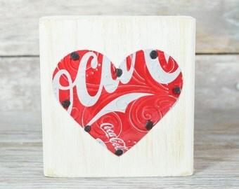 Coke Coca Cola Heart Small Shelf Sitter Soda Can Art