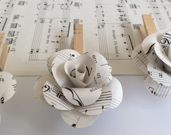 8 Vintage Sheet Music Rose Clothespin-Wedding-Photo Line-Props-Decor