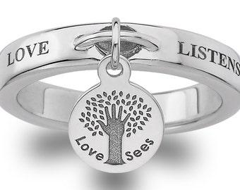 LOVE LISTENS Sterling Silver Dangle Ring