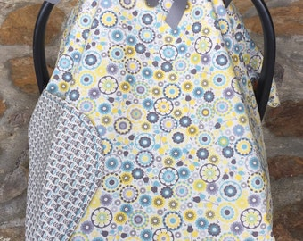 Yellow, blue, grey happy floral car seat canopy, newborn car seat cover, baby shower gift