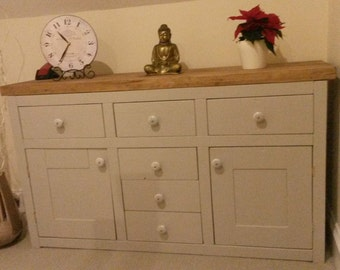 Chunky rustic six draw 2 cupboard sideboard painted