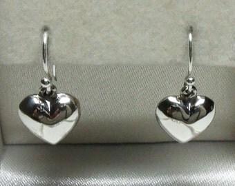 925 Sterling Silver Puffed Heart Earrings 22mm x 12mm.