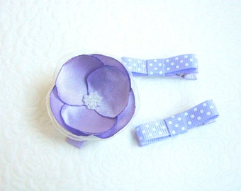 Lavender baby hair clips, Dotted hair clips, Flower hair clip, Toddler hair clip, Baby hair clips, Lavender hair clips, Dotted clips, Props