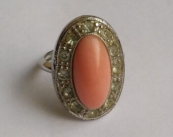 Vintage Silver Tone Faux Pink Coral & Clear Rhinestone AVON Ring
