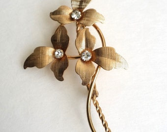 Amazing Vintage Signed VAN DELL 12k Gold Filled Clear Rhinestone Floral Pin Brooch